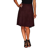 H by Halston Faux Suede Skirt with Hi-Low Hem - A269437