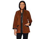 Bob Mackies Zip Front Fleece Jacket with Faux Leather Trim - A269537
