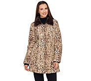 Dennis Basso Printed Water Resistant Jacket with Faux Fur Collar - A270637