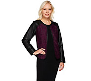 Joan Rivers Open Front Lace Jacket w/ Faux Leather Sleeves - A271937