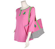 As Is Quacker Factory French Knot Tote Bag and Henley Knit Top - A272137