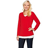 Susan Graver Liquid Knit Long Sleeve V-Neck Top with Feather Weave - A272337