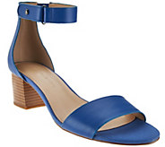 H by Halston Leather Sandal with Stacked Block Heel - Lexi - A273937