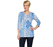 Susan Graver Printed Liquid Knit 3/4 Sleeve Tunic with Enamel Chain - A274437