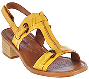 Clarks Leather Block Heel T-Strap Adj. Sandals - Reida Madalyn - A275837