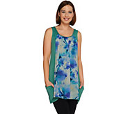 LOGO by Lori Goldstein Knit Tank with Printed Chiffon Front Panel - A276637