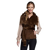 As Is Luxe Rachel Zoe Faux Shearling Belted Vest w/ Collar - A277337