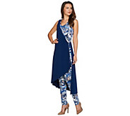 Attitudes by Renee Regular Printed Faux Wrap Knit Jumpsuit - A277537