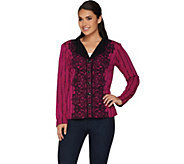 Bob Mackies Placement Print Lace Knit Jacket - A279237