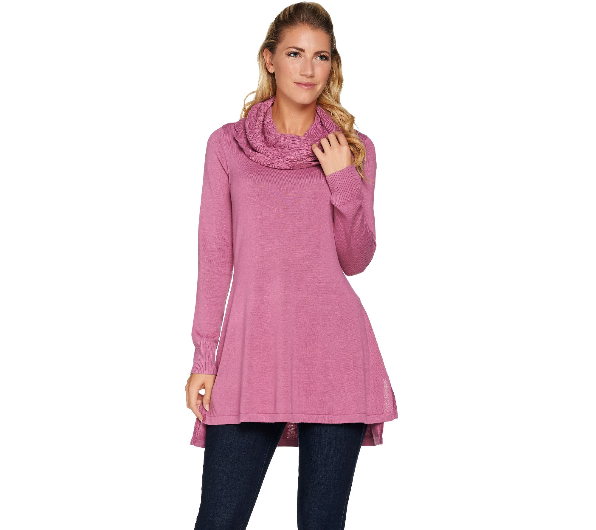 Isaac Mizrahi Live! Sweater Tunic w/ Cable Knit Cowl Neck - Page 1   QVC.com
