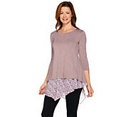 LOGO by Lori Goldstein Heathered Knit Top and Tank Twin Set - A285337