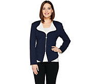 Dennis Basso Zip Front Ponte Knit Jacket with Contrast Lapel - A288737
