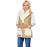 As Is Susan Graver Faux Shearling Vest with Front Pockets - A290037