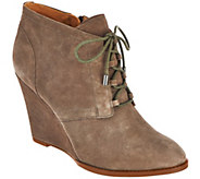 As Is Franco Sarto Suede Lace-up Wedge Ankle Boots - Lennon - A290137
