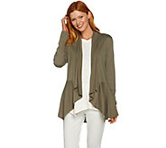 LOGO by Lori Goldstein Cascade Front Cardigan with Back Seam - A290237
