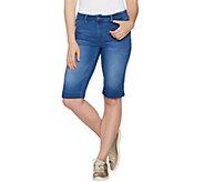 Hot in Hollywood Silky Denim Bermuda Pull-On Shorts - A290637