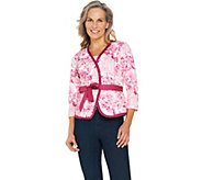 Isaac Mizrahi Live! Floral Print Belted Knit Jacket - A290837
