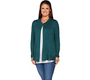 LOGO by Lori Goldstein Single Button Knit Cardigan w/ Hem Detail - A296537