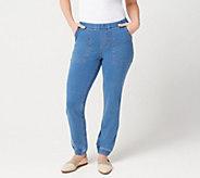 Denim & Co. Petite Comfy Knit Denim Pull On Jogger Pants - A301737