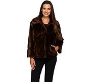 As Is Dennis Basso Platinum Chevron Cut Faux Fur Shrug Jacket - A308937