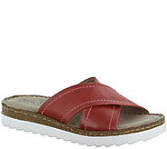 Bella Vita Leather Coss Strap Slide Sandals - Fasano - A339037