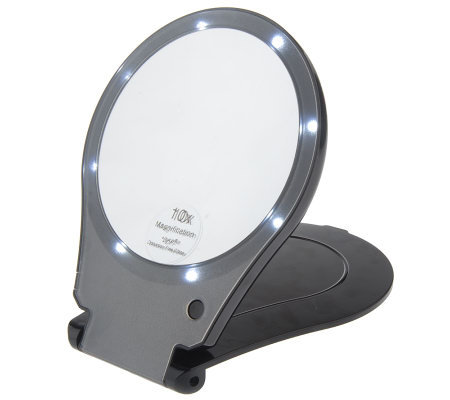 Floxite Lighted 10x Magnification Travel Mirror Qvc Com