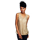 Susan Graver Metallic Crinkle Scoop Neck Layering Tank - A94237