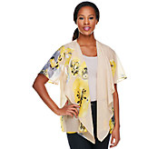 Susan Graver Printed Chiffon Cascading Open Front Cardigan - A200938