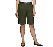 Denim & Co. Classic Waist Stretch Twill Bermuda Shorts w/ Cargo Pocket - A214538