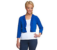 Susan Graver Essentials Liquid Knit 3/4 Sleeve Shrug - A224338