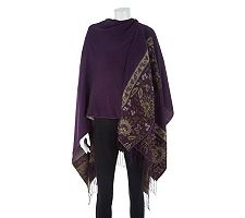 Accessory Street Festive Floral Ruana with Fringe
