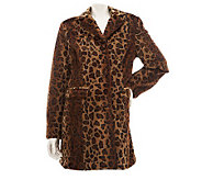 Dennis Basso Leopard Print Flat Faux Fur Notch Collar Coat - A229738