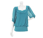 M by Marc Bouwer Short Sleeve Knit Top with Sheer Overlay - A231238