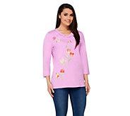 Quacker Factory Petal Party Ruffle V-neck 3/4 Sleeve T-shirt - A232138
