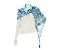 Amiee Lynn Paisley Pattern Square Scarf with Beaded Tassels - A232338