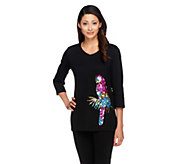 Quacker Factory Birds of a Feather 3/4 Sleeve Top - A232438