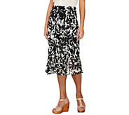 George Simonton Milky Knit Printed Skirt with Chiffon Ruffle Detail - A232738