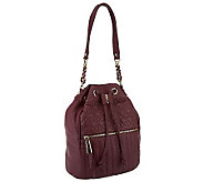 B.Makowsky Quilted Leather Drawstring Hobo Bag with Chain Detail - A238938