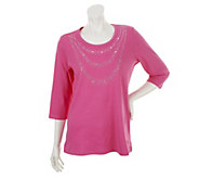 Quacker Factory Sparkle Necklace 3/4 Sleeve T-shirt - A239738