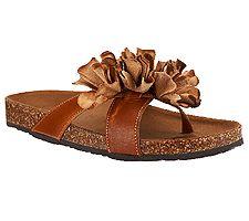White Mountain Leather Sandals w /  Floral Detail - Sandbar