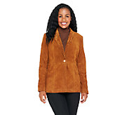 Liz Claiborne New York Fully Lined Suede Blazer - A256338
