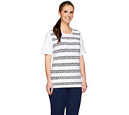 Denim & Co. Round Neck Short Sleeve Star Stripe Printed T-Shirt - A264838