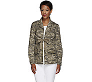 G.I.L.I. Stretch Canvas Camo Printed Jacket with Tie Front - A266238