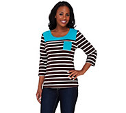 Denim & Co. 3/4 Sleeve Striped Knit Top with Colorblock Yoke - A266438