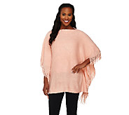 As Is Layers by Lizden Marvelush Cable Knit Fringed Poncho - A268838