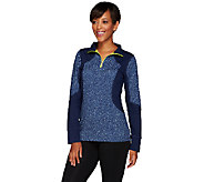 Denim & Co. Active Printed Duo-Stretch Top w/ Color-Block Detail - A269038