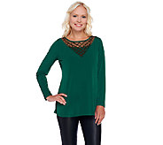 Susan Graver Artisan Liquid Knit Top with Embellishement - A269238