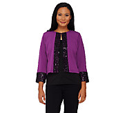 Bob Mackies Bracelet Sleeve Open Front Jacket with Sequin Trim - A269538