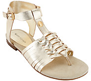 As Is Marc Fisher Leather Sandals with Woven Detail - Lea - A270138