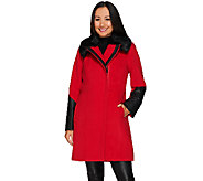 Dennis Basso Coat with Faux Leather Trim and Faux Fur Collar - A270638